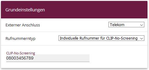 Individuelle Rufnummer für CLIP-No-Screening anlegen