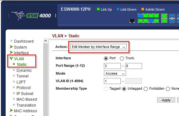 Switch: Alle Ports als Access im Default VLAN
