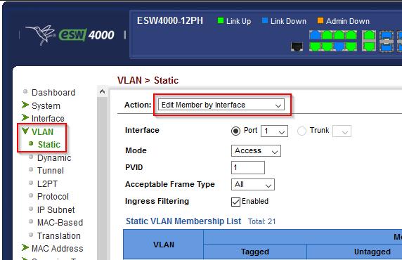 Switch: VLAN Port 1