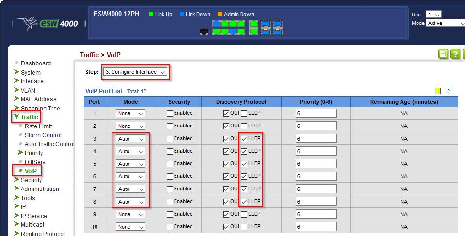 Switch: VoIP Interfaces konfigurieren