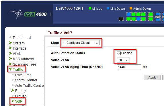 Switch: Globales Voice VLAN